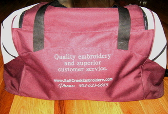 Sample embroidered sports bag